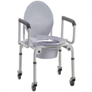 Сталевий стілець-туалет на колесах з відкидними підлокітниками OSD-2107D